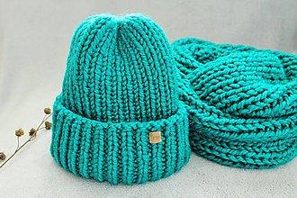 Čiapky - Čiapka a nákrčník  (smaragdová) - 10013792_