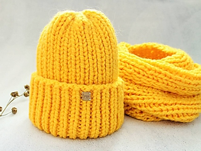 Čiapky - Čiapka a nákrčník  (žltá) - 10013797_