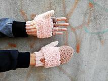 Rukavice - Otváracie lososovo-béžové extra našuchorené rukavice - 10015997_