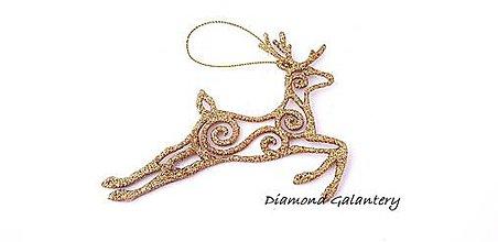 Galantéria - Vianočný sobík flitrový - Zlatý - 10016551_