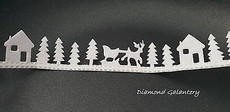 Galantéria - Ozdobná lemovka nalepovacia - Vianočný štýl - biely - 10016625_
