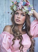 Ozdoby do vlasov - Veľký kvetinový boho venček - 10014317_