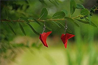Náušnice - Červenooranžové holubičky - 10013625_