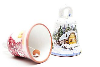 Dekorácie - Vianočný ručne maľovaný zvonček - 10014882_