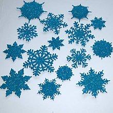 Materiál ručne robený - Snehové vločky, výrezy Tyrkysová glitrovaná 15 ks - 10014662_