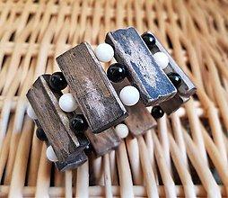 Náramky - Tridacna, ónyx a agátové drevo (náramok) - 10016772_