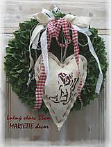Dekorácie - Lněný věnec andělíček 33cm - 10016203_