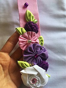 Ozdoby do vlasov - detská textilná čelenka s kvietkami - 10016586_