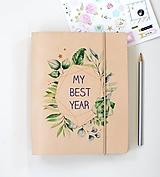 Papiernictvo - Kožený DIÁR na rok 2019 SUKULENTY - 10014670_