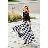 Sukne - maxi polkruhová károvaná sukňa (čierno-biela kocka) - 10012775_