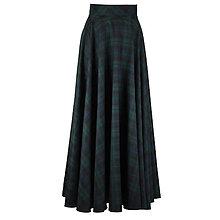 Sukne - maxi kruhová károvaná sukňa (Modrozelená) - 10012735_
