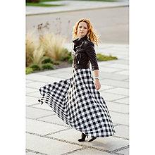 4f8fc5324af6 Sukne - maxi polkruhová károvaná sukňa (čierno-biela kocka) - 10012775