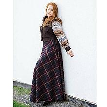 fa0e3fd28072 Sukne - maxi polkruhová károvaná sukňa (hnedá kocka) - 10012780