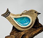 Dekorácie - keramický vtáčik na zavesenie - 10014657_