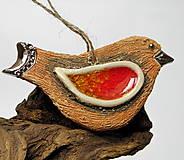 Dekorácie - keramický vtáčik na zavesenie - 10014692_