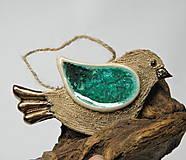 Dekorácie - keramický vtáčik na zavesenie - 10014716_