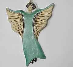 Dekorácie - Keramický anjelik - závesná dekorácia - 10014550_