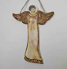 Dekorácie - Keramický anjelik - závesná dekorácia - 10014570_