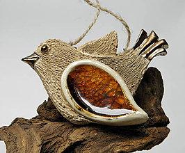 Dekorácie - keramický vtáčik na zavesenie - 10014731_