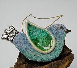 Dekorácie - keramický vtáčik na zavesenie - 10014755_