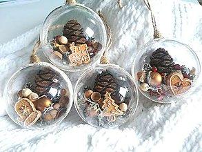 Dekorácie - Vianočné gule 4 ks sada prírodné perníky - 10016683_