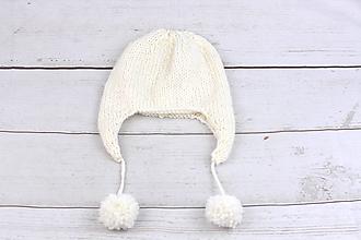 Detské čiapky - Biela ušianka zimná EXCLUSIVE FINE - 10013699_