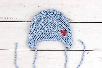 Detské čiapky - Bledomodrá ušianka srdiečko EXTRA FINE - 10014430_