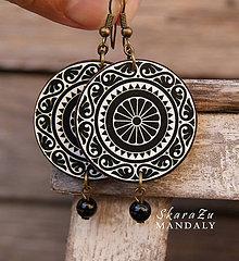 Náušnice - Mandala Black and White Ornaments - 10016726_