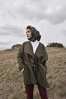 Kabáty - Khaki vlnený kimono kabát - 10012710_