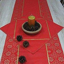 Úžitkový textil - Zlaté vločky v ornamentoch s bodkami na červenej (1)-štvorcový obrúsok 40x40 - 10013087_
