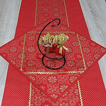 Úžitkový textil - Zlaté vločky v ornamentoch s bodkami na červenej (2)-štvorcový obrúsok 40x40 - 10016639_