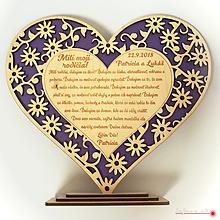 Dekorácie - Poďakovanie rodičom - vyrezávané srdiečko - 10016269_