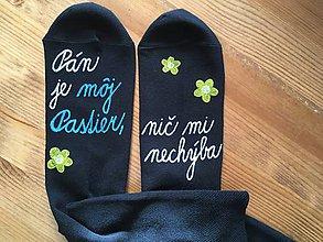 """Obuv - Motivačné maľované ponožky s nápisom: """"Pán je môj pastier!"""" (Na tmavých ponožkách) - 10013008_"""
