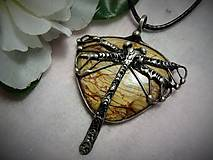 Náhrdelníky - jaspis vážka... - 10013878_