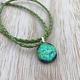Náhrdelníky - Zelená lúka - sklenený náhrdelník - 10016386_