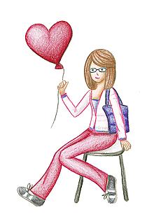 Kresby - Kreslené dievča s balónom (1) - 10016680_