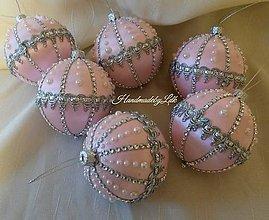 Dekorácie - Vianočné gule - jemne ružové - 10017633_
