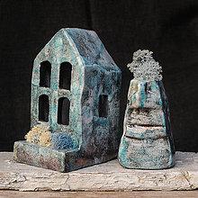 Svietidlá a sviečky - RAKU domček - svietnik - 10016878_