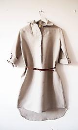 Šaty - Limitovka - dámske ľanové košeľové šaty - 10019407_