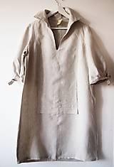 Šaty - Limitovka - dámske ľanové šaty s riasenými rukávmi - 10019528_