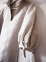 Šaty - Limitovka - dámske ľanové šaty s riasenými rukávmi - 10019529_