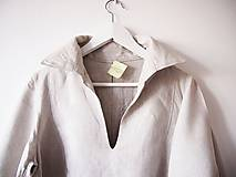 Šaty - Limitovka - dámske ľanové šaty s riasenými rukávmi - 10019530_