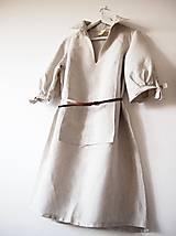 Šaty - Limitovka - dámske ľanové šaty s riasenými rukávmi - 10019532_