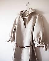 Šaty - Limitovka - dámske ľanové šaty s riasenými rukávmi - 10019534_