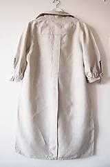 Šaty - Limitovka - dámske ľanové šaty s riasenými rukávmi - 10019538_