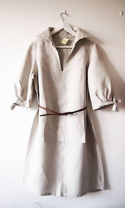 Limitovka - dámske ľanové šaty s riasenými rukávmi