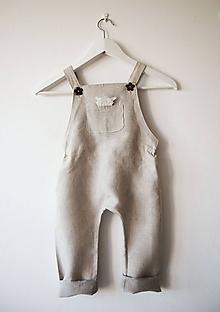 Detské oblečenie - Limitovka - ľanové dievčenské nohavice/overal - 10019148_