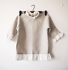 Detské oblečenie - Limitovka - ľanová dievčenská košielka/blúzka 140 - 10019219_