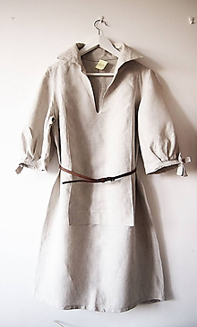 Šaty - Limitovka - dámske ľanové šaty s riasenými rukávmi - 10019533_