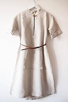 Šaty - Limitovka - dámske ľanové šaty s krátkym rukávom - 10019827_